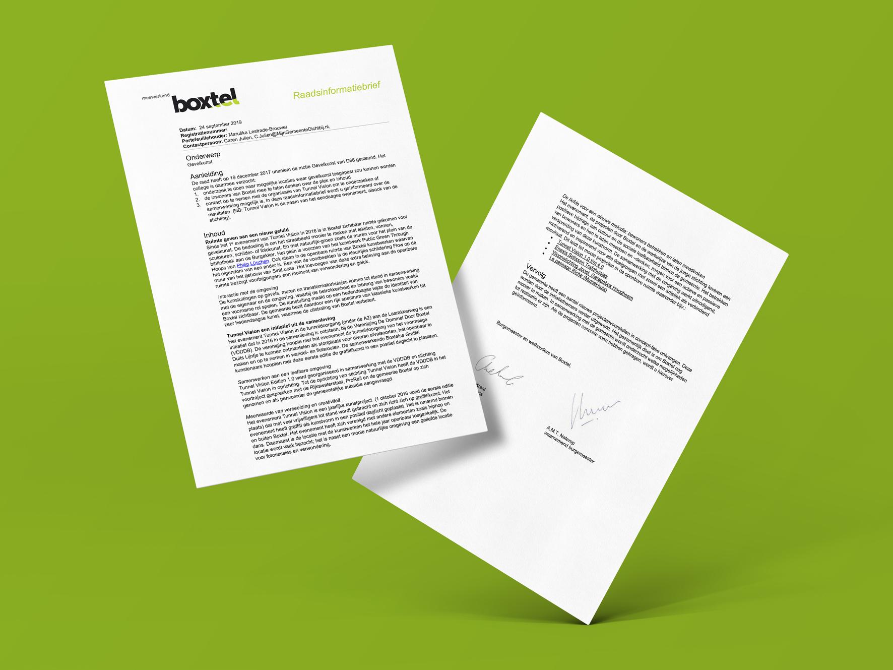 Raadsinformatiebrief Gemeente Boxtel Gevelkunst